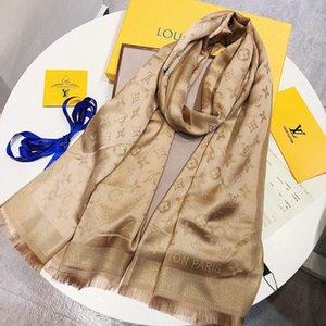 Luxus-Schal neue Designer helle Gold Seide Baumwolle Jacquardwebstuhlschal Marke Designer Schal Männer und Frauen Herbst und Winter scarve