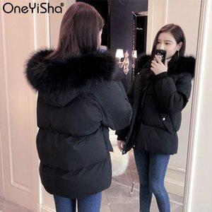 Kalın Ördek Oneyisha Bayanlar Coat Fox Kürk Yaka Kadın 2020 Kış Kadın Gevşek Beyaz Aşağı ceket Isınma