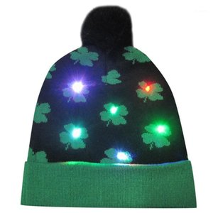 .Merry Christmas women men adult caps LED Light-up Hat Knitted Ugly Sweater Holiday Christmas party Cap hat1