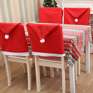 10pcs christmas chair covers Santa Claus Hat Christmas Dinner Chair Back Covers Table Party Decor New Year Party Supplies