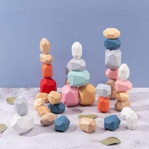 10/10/36 PCS Bambini in legno colorato in legno stacking gioco gioco block kids creativo giocattolo educativo LJ201124