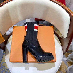 vetements lighter heel boots black women's fashion boot sexy women shoes Stretch Fabric lighter-heel middle boots