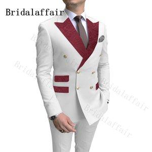 Bridalaffair clásico Borgoña Paisley de solapa Bolsillos trajes de hombre blanco de la boda del novio de doble botonadura de vestuario Homme 2 piezas