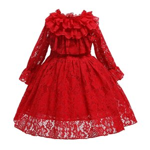Long Sleeve Christmas Lace Princess Winter Warm Little Girls Fancy Wedding Princess Party Birthday Cosplay Dress Long Kids Frock