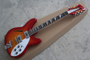 Frete grátis personalizado loja rick 12 cordas semi-oco 2 pickups guitarra vermelha cereja com r cauda em estoque