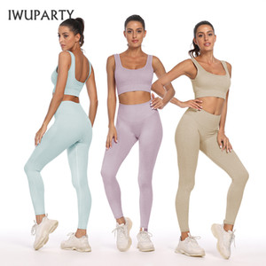 Iwuparty Sans Coucless Gym Set Femmes Fitness 2pcs Bras + Leggings Push Up Pantalon Exercice rembourré Top Workout En cours d'exécution Haute extensible C0119