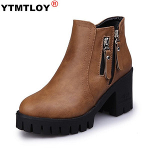 Winter New Designer Trendy Ankle Boots Side Double Zip Creepers Women Ankle Booties Plush Warm Chunky Heels Retro Riding Botines