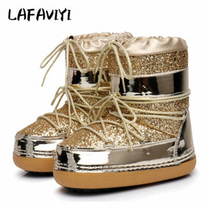 Snow Boots Winter Ankle Boots Women Shoes Fur Warm Female Plus Size Casual Shoes Platform Non Slip Gold Bling Lack Up DE qLR9#