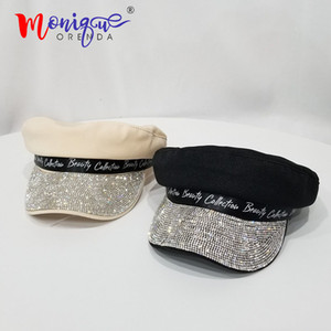 Luxury flat cap female navy hat wild painter newspaper hat retro octagonal hat bling diamond letter beret 201008