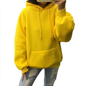 Winter Casual Fleece Women Hoodies Sweatshirts Long Sleeve Yellow Girl Pullovers Loose Hooded Female Thick Coat
