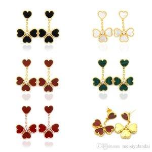 Hot natural white shell red black agate malachite love earrings four leaf clover heart earrings women wedding earrings