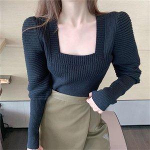 Korean Chic Black White Knitted Tops Women Puff Sleeve Sexy U neck Elegant Sweater French Style Underwear Jumper Pull Femme