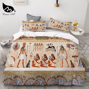 Dream NS Egyptian Cover Set Ancient Egypt Civilization Textiles Set Queen Bedclothes Duvet Cover Pillowcase Bedding Sets 02Xv#