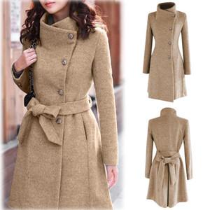 2020 Womens Winter Bavero Cappotto di lana Cappotto Trench Giacca a maniche lunghe Outwear Abrigos Mujer Invierno 2020 Cammello Cappotto Plus Size