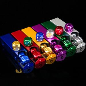 محفظة 5pcs / مجموعة بروتابلي سبائك الألومنيوم النرد 16mm والمعادن النردات مستطيلة حالة 6 من جانب والنرد لحزب ألعاب الشرب