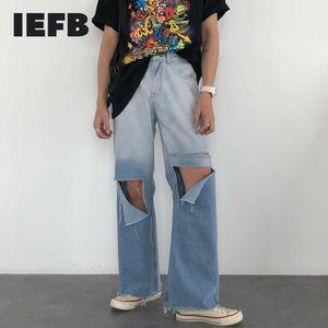 IEFB Streetwear Streetwear Blue Jeans per uomo Coreano Fashion Fashion Denim Pants 2020 Trend Pantaloni per foro sciolto 9Y2647