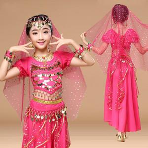 New Girls Belly Dance Traje Criança Bollywood Dança Trajes Bellydancer Crianças Indian Roupas Vestidos para Crianças Bellydance T200624