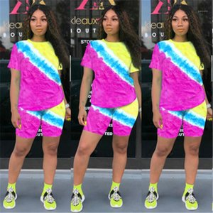 2pcs Sets Clothing Tie Dye Women Tracksuits Fashion Trend Short Sleeve Round Neck Tee Shorts Suits Designer Female Skinny Loose Casual