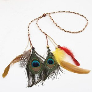 National Style Bohemian Peacock Feather Hair ornament With Handmade Feather Rope Beaded Feather Hair Ornament