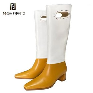 Женские ботинки для осени / зимы 2021Ну Все-матч квадратный носок толстые пятки цвета подходит высокий рыцарский модные сапоги Zapatos de Mujer1