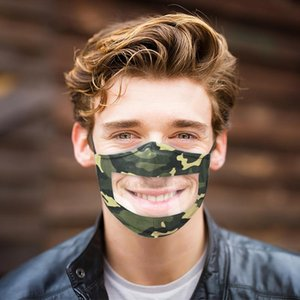 Deaf-Mute Lip Language Camouflage Printing Ear Bands Adjustable Soft PVC Transparent Window Mask for Adults