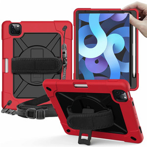 for iPad AIR 4 10.9 10.2 mini45 NEW IPAD 9.7 Samsung Tab A7 T500 T510 T290 T307 Hybrid Shockproof Should Strap Hand Strap Pen Holder case