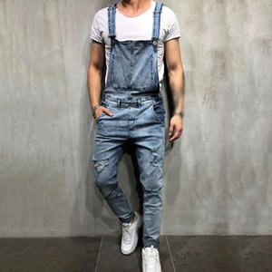 2020 Fashion Men's Ripped Jeans Casual Jumpsuits Hi Street Distressed Denim Bib Overalls For Man Suspender Pants Size S-XXL