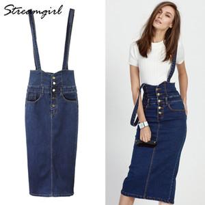 Botón Streamgirl largo Denim falda con mujeres de las correas de los pantalones vaqueros más el tamaño de las faldas largas de alta de la cintura falda del lápiz del dril de algodón para mujer Faldas 201008