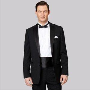 Erkek Takım Elbise Blazers Siyah Erkekler Saten Düğün Balo Kostüm Slim Fit Erkek Blazer Groomsmen Smokin (Ceket + Pantolon)