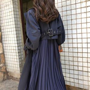 Women's Trench Coat Long Spring Coats Female 2020 Fashion Pleated Chiffon Splice Thin Outwear Loose Trench Coat For Women