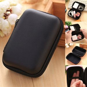 Portable Square Earphone Wire Organizer Bag Headphone Data USB Cable Protective Box Case Container Storage Cases