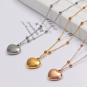 Three dimensional love color gold necklace rose gold chain jewelry color fast anti allergy