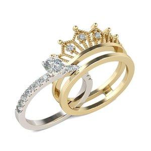 Новые простые съемные королевские женские кольца Micro Inlaid Zircon Twi-in-One Set
