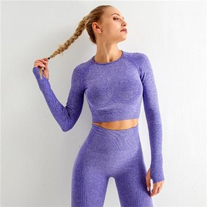 Tracksuits Sexy Long Sleeve Tops High Waist Skinny Hip-Lifting Seamless Yoga Pants Women Casual Jogger Cycling Sets Womens Yoga Clothes