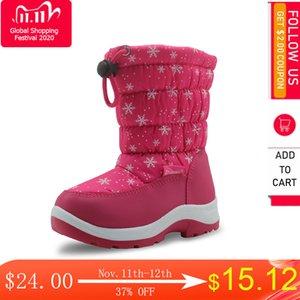 APAKOWA Su geçirmez Çocuk Kar Orta Buzağı Ayakkabı Astar Wollen Düz Kız Peluş Kış Boots Warm