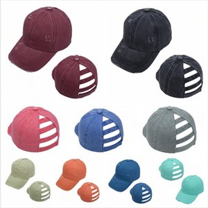 Washed Ponytail Hat Torn Baseball Cap Cotton Unisex Visor Caps Outdoor Sports Shading Snapbacks Breathable Party Hat SEA SHIPPING LJJP608
