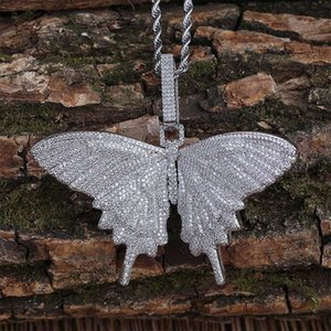 Hip Hop Micro Cubic Zirconia Bling Ice Out Animal Butterfly Pendants Necklaces for Men Rapper Jewelry