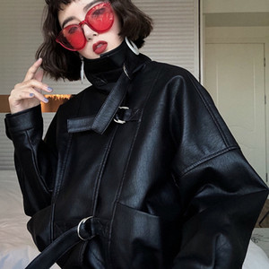 Oversize Women Faux Batwing Sleeve Moto Biker Short Zipper Pu Black Jacket Spring Street Leather Coat Py102