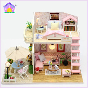Pink LOFT Lovely Doll House Miniature DIY Dollhouse With Garden And Furniture Wooden House Toy For Children Birthday Gift HD005 LJ200909
