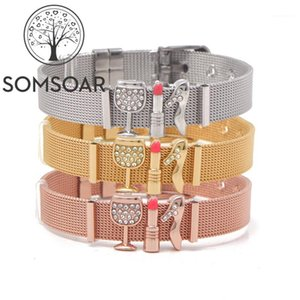 Somsoar Jewelry Newest Mesh Bracelet Bangle Set with high-heeled shoes & lipstick & wine glass Slide Charms1