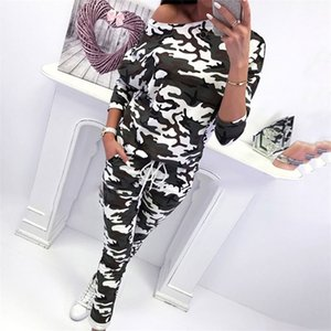 Spring Sweat Suits Women Two Piece Outfits Track Suit Tracksuit for women 2 Piece Set Camouflage ladies Tracksuits Top And Pants T200623