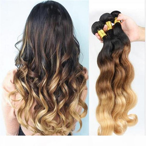 1B 4 27 Honey Blonde Malaysian Human Hair Weaves Body Wave Wavy Malaysian 3Bundles Three Tone Colored Ombre Human Hair Wefts Extensions
