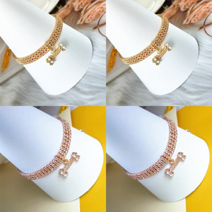 Pet Dog Necklace Bone Shape Pendants Three Rows Rhinestone Zircon Necklaces Rose Gold Color Chain Fashion Accessories 9 5cj N2