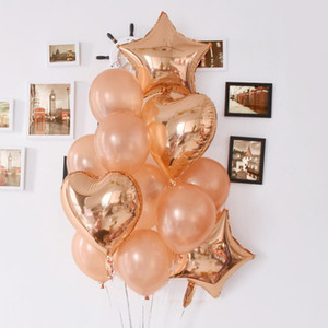 Rose Gold Heart Balloon Foil Star Globos Body Party Decor Latex Ballon Air Inflatable Balloon Fiesta de cumpleaños Decoraciones