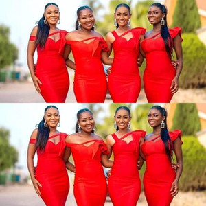 African New Sexy Cheap Red Satin Mermaid Long Bridesmaid Dresses Off The Shoulder Ruched Plus Size Custom Wedding Guest Maid Of Honor Gowns