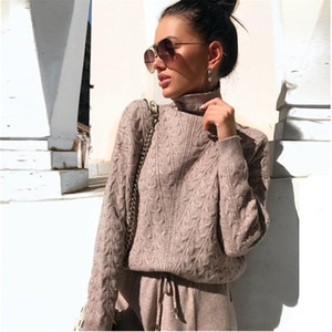 Turtleneck Pullover Sweatshirts Knit Pants Suit Two Piece Sets Women Autumn Winter Warm Knitted Tracksuit Sporting Suit Female Y200110