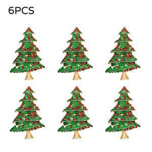 6PCS Hotel Napkin Ring Christmas Tree Napkin Circle Party Table Decor Buckle Dinner Wedding Brithday New Year Party