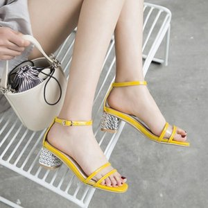 Oversized 11 high heels sandals women shoes woman summer ladies Ribbon buckle sandals with thick heels