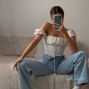 Hot Sale Off Shoulder Fashion Lace Up Shirts Blouse Women White Crop Tops Blouses Clothes Vintage Tie Front Tops ladies Clothing S-L