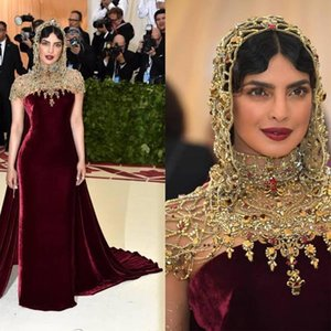 2021 Burgundy Luxury Evening Dresses Beaded Crystals Velvet with Cape Sweep Train Dubai Arabic Custom Made Prom Party Gown Formal Occasion